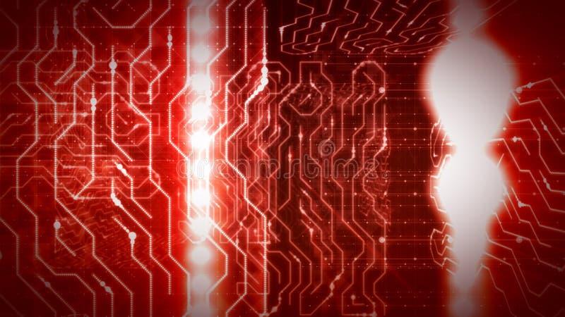 Rotas de brilho do processador roxo do circuito ilustração royalty free