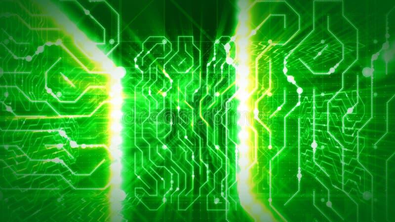 Rotas de brilho do processador verde do circuito ilustração royalty free
