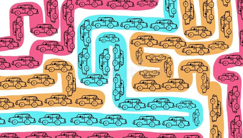 Rotas de tráfego congestionadas ilustração do vetor