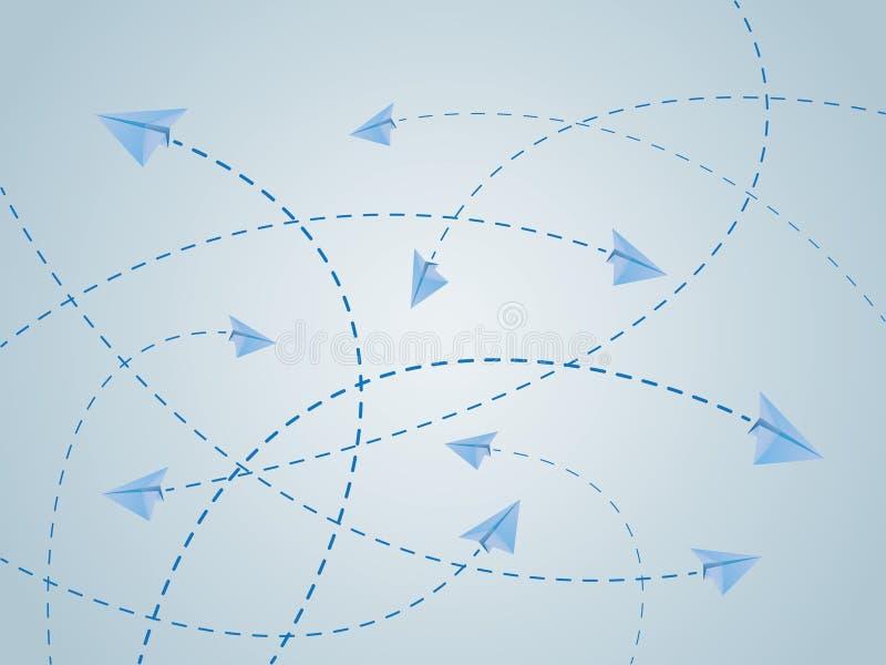 Rotas de voo azuis da cor do plano ou dos aviões de papel com linhas do cruzamento ilustração royalty free