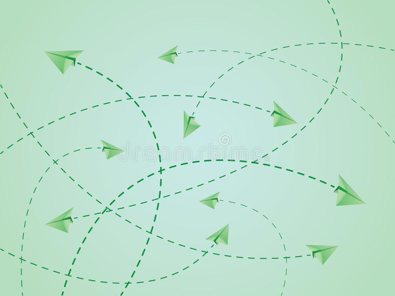 Rotas de voo da cor verde do plano ou dos aviões de papel com linhas do cruzamento ilustração royalty free