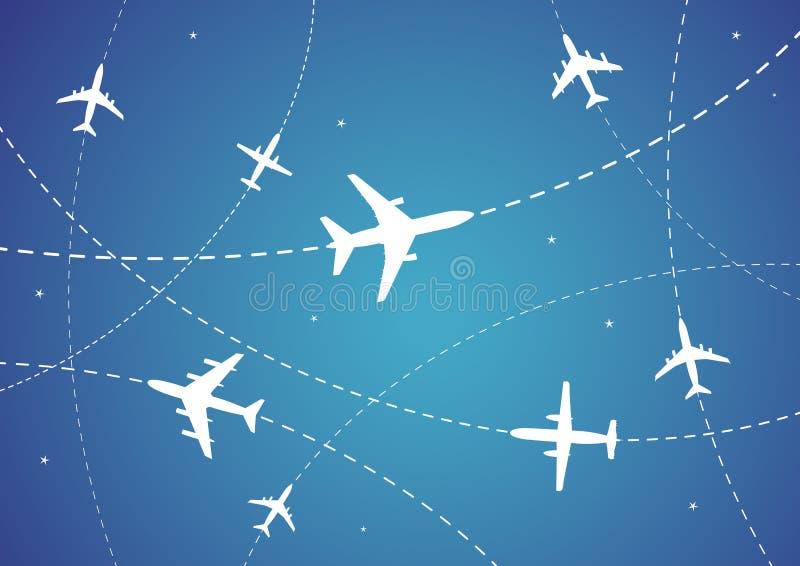 Rotas do avião ilustração stock