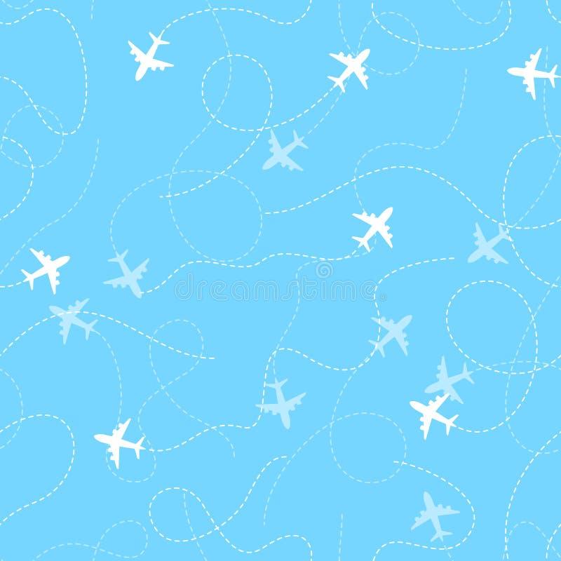 Rotas do avião com linha pontilhada, teste padrão sem emenda ilustração royalty free
