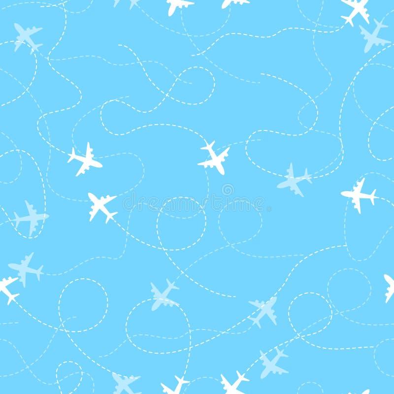 Rotas do avião com linha pontilhada, teste padrão sem emenda ilustração do vetor