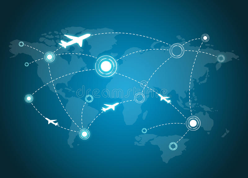 Rotas do avião no mapa ilustração stock