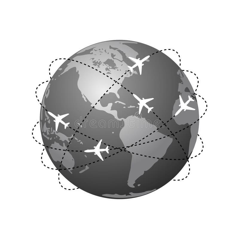 Rotas dos planos Símbolo global do curso ilustração royalty free