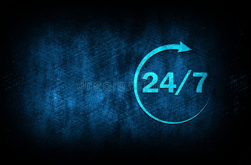 24/7 rotate arrow icon abstract blue background illustration digital texture design concept. 24/7 rotate arrow icon abstract blue background illustration dark stock illustration