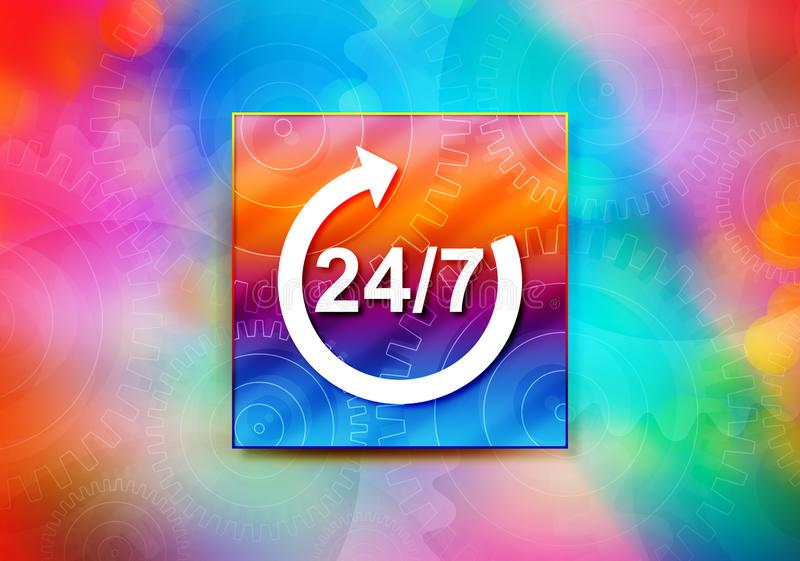 24/7 rotate arrow icon abstract colorful background bokeh design illustration. 24/7 rotate arrow icon isolated on colorful banner abstract colorful background vector illustration