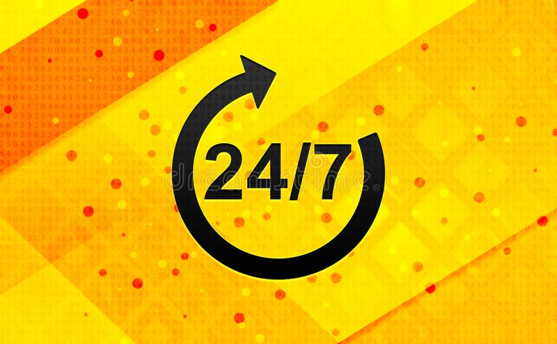 24/7 rotate arrow icon abstract digital banner yellow background. 24/7 rotate arrow icon isolated on abstract digital banner yellow background stock illustration