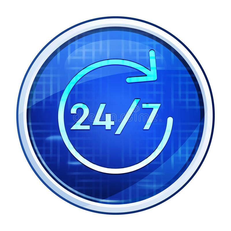 24/7 rotate arrow icon futuristic blue round button vector illustration. 24/7 rotate arrow icon isolated on futuristic blue round button vector illustration royalty free stock photography