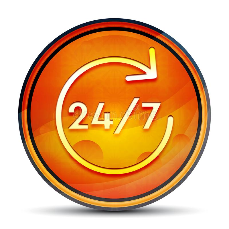 24/7 rotate arrow icon shiny bright orange round button illustration. 24/7 rotate arrow icon isolated on shiny bright orange round button illustration royalty free illustration