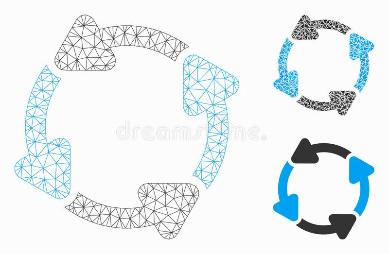 Rotate CW Vector Mesh Network Model and Triangle Mosaic Icon. Mesh rotate CW model with triangle mosaic icon. Wire carcass polygonal mesh of rotate CW. Vector royalty free illustration