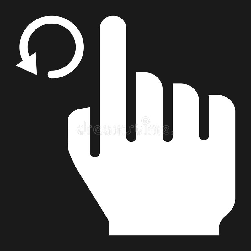 Rotate left solid icon, touch and hand gestures vector illustration
