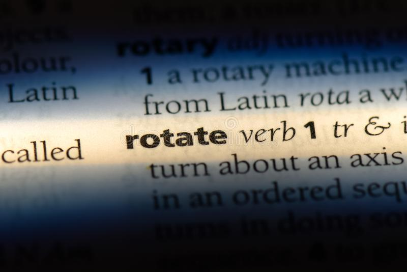 Rotate. Word in a dictionary.  concept royalty free stock photos