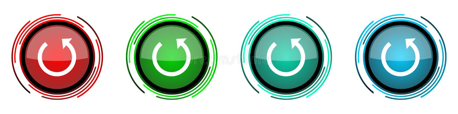 Rotate round glossy vector icons, set of buttons for webdesign, internet and mobile phone applications in four colors options. Isolated on white stock illustration