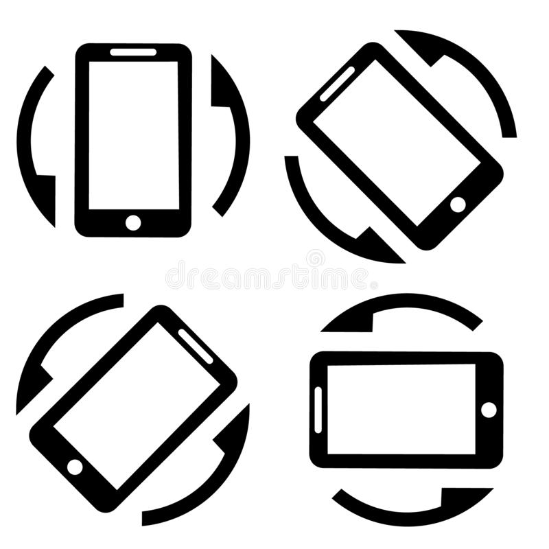 Rotate smartphone icon vector. Mobile screen rotation illustration symbol. Horisontal or vertical rotation icons set. royalty free illustration