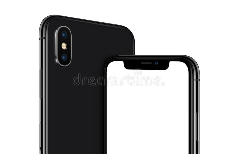 Rotated black smartphone similar to iPhone X mockup front and back sides cropped. Rotated black smartphone similar to iPhone X cropped close-up mockup front and royalty free illustration