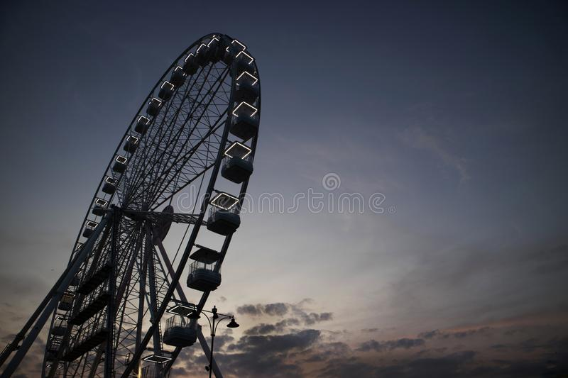 It rotates at the end of the day panning. The great wheel photographed panning pours the end day in the city of Viareggio Italia royalty free stock photo