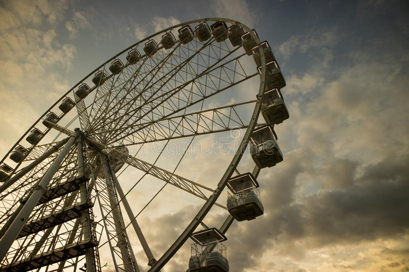 It rotates at the end of the day panning. The great wheel photographed panning pours the end day in the city of Viareggio Italia royalty free stock images