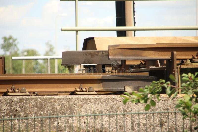 Rotating bridge over the Gouwe for trains at Alphen aan den Rijn. stock photo