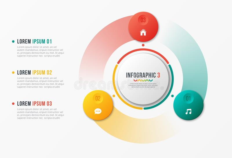 Rotating circle chart template, infographic design, visualization concept with with 3 options, steps, processes. stock illustration