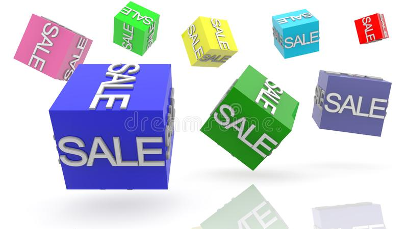 Rotating colorful cubes with sale concept royalty free illustration