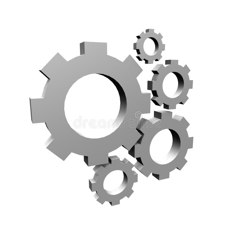 Rotating gears over white background stock illustration