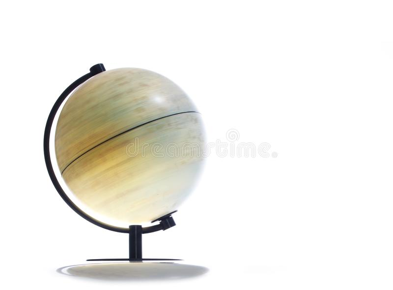 Vintage rotating globe. Rotating globe on white background royalty free stock images