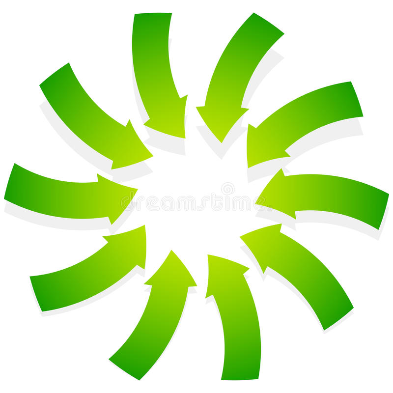 Rotating green arrows point inwards / inside. Abstract shape wit. H green arrows - Royalty free vector illustration royalty free illustration