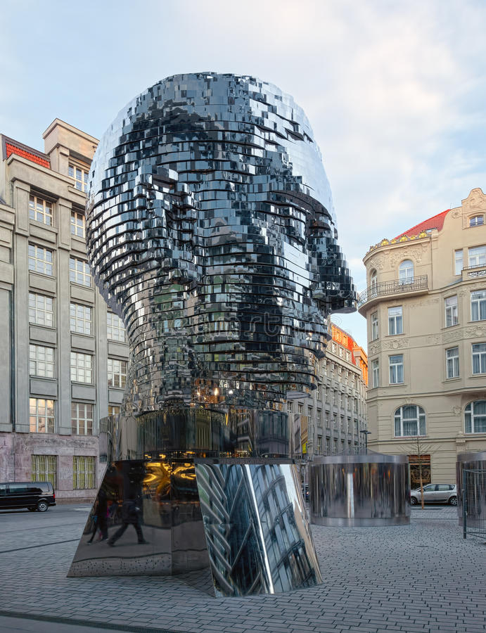 Rotating monument of Kafka, Prague, Czech Republic royalty free stock photo