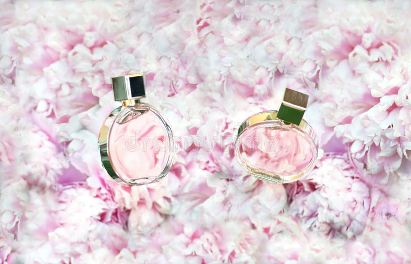 Rotating Perfume bottles on pink flowers peonies background with copy space. Perfumery, cosmetics, female accessories stock images