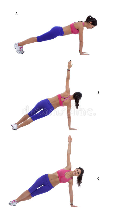 Rotating plank. Step by step instruction for abs: Start in a plank position with hands and feet hip-width apart, abs engaged. (A) Pivoting onto sides of feet stock photo