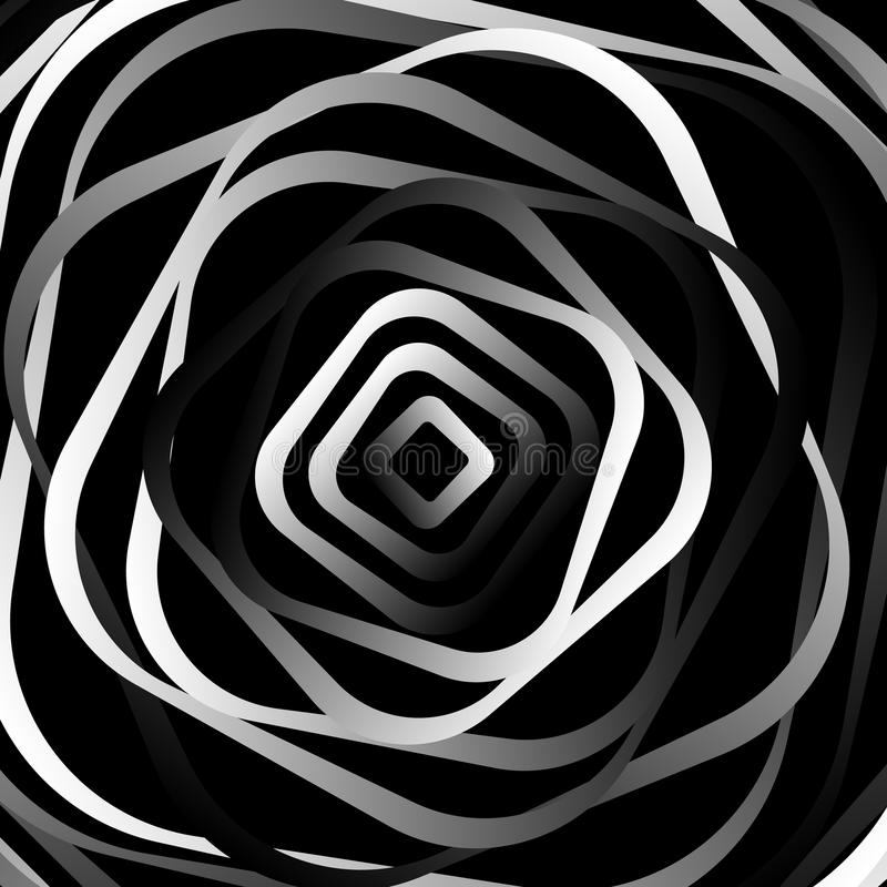 Rotating rounded corner squares. Abstract monochrome graphic. vector illustration
