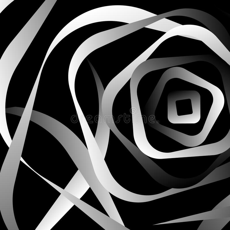 Rotating rounded corner squares. Abstract monochrome graphic. Royalty free vector illustration vector illustration
