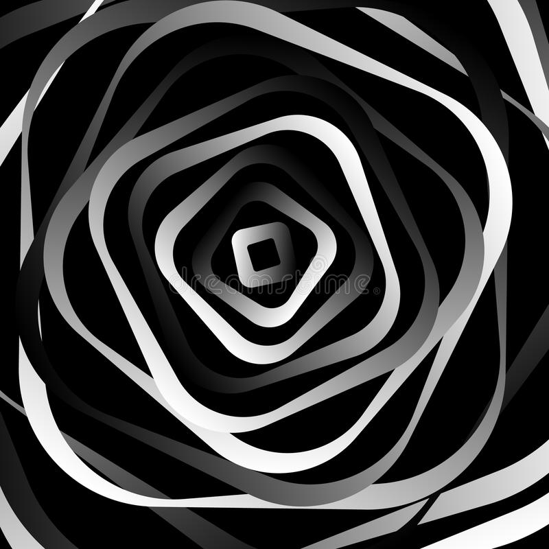 Rotating rounded corner squares. Abstract monochrome graphic. Royalty free vector illustration stock illustration
