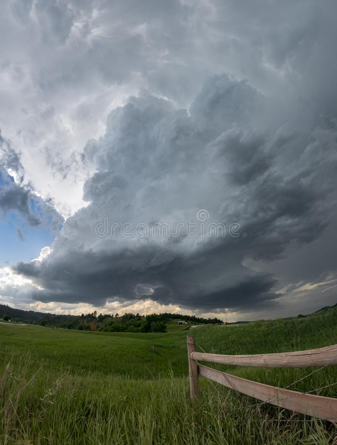 Rotating wall clouds of a South Dakota supercell thunderstorm. On June 8th 2018, storms fired over the Black Hills in South Dakota and drifted eastwards to the stock photo
