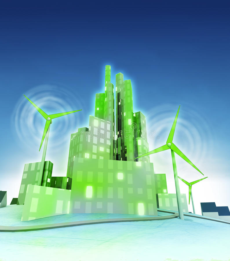 Rotating windmills powered our green ecological cities stock illustration