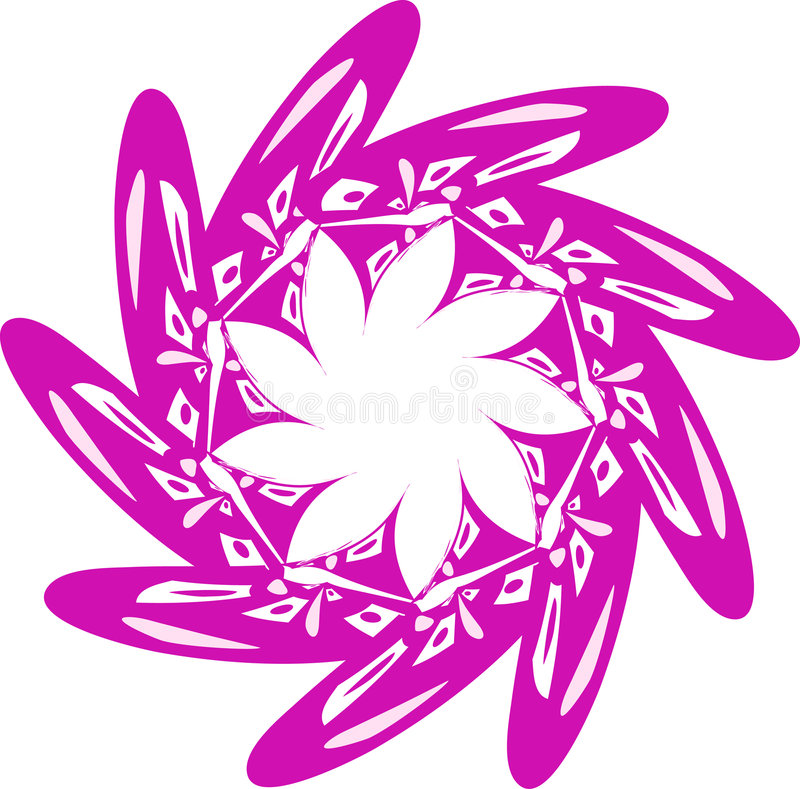 Rotation. Abstract stylization of the pink flower. Curl ornament vector illustration