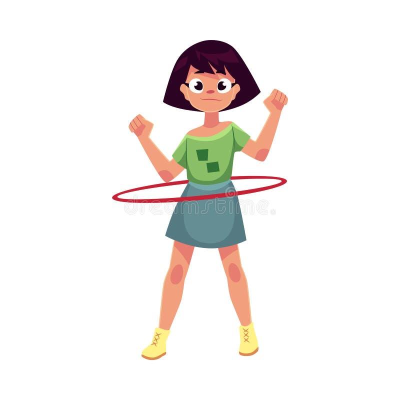 Rotation caucasienne adolescente de fille, jouant avec le cercle de danse polynésienne illustration de vecteur