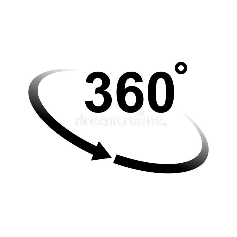 360 degrees. Rotation of 360 degrees vector icon royalty free illustration