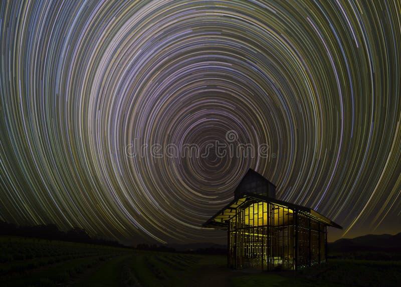 Rotation för stjärnaslingavisning av jorden arkivbild