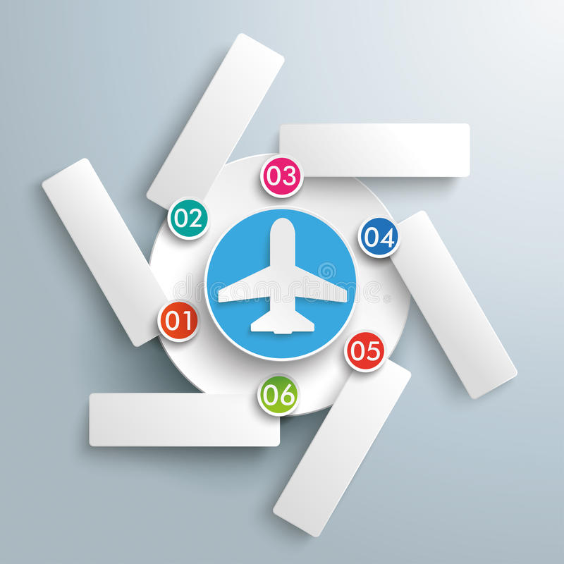 Rotation Infographic Plane 6 Options. Infographic with plane and circles the gray background stock illustration