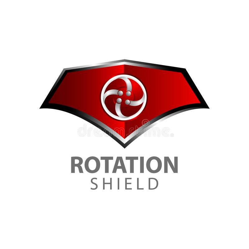 Rotation shield logo concept design. Symbol graphic template element stock illustration