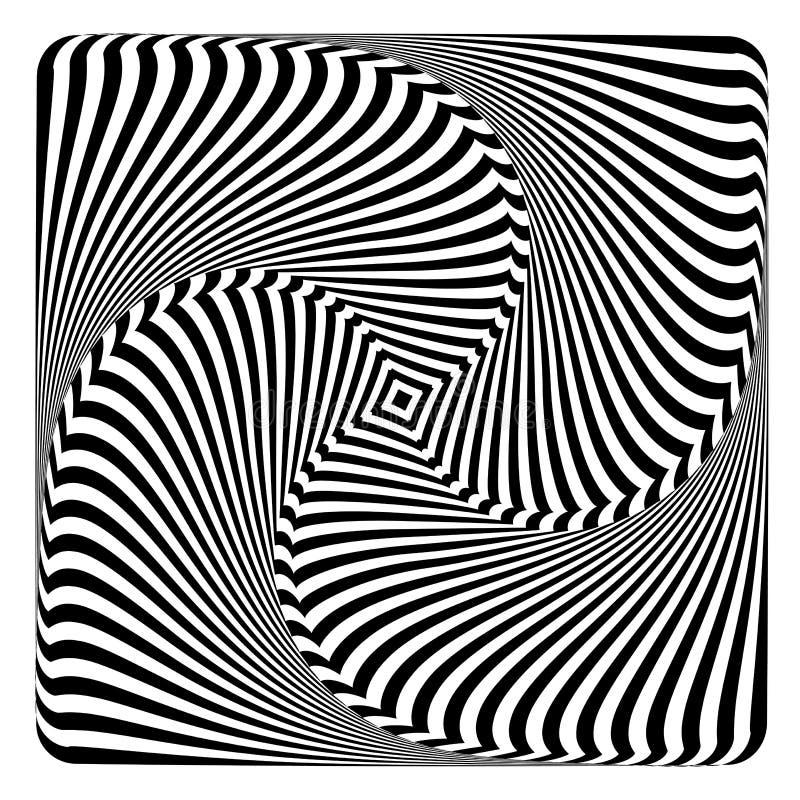 Rotation, swirl and torsion illusion. Op art design. royalty free illustration