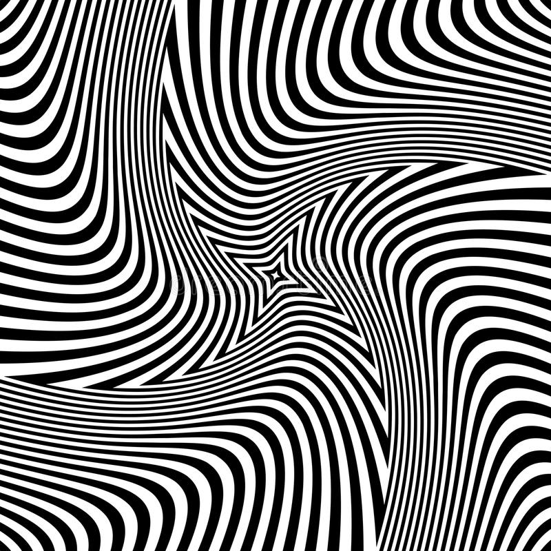 Rotation torsion illusion. Abstract op art design. vector illustration