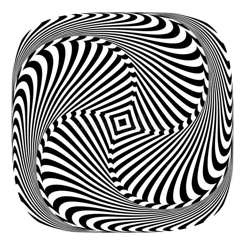 Rotation torsion movement illusion. stock illustration