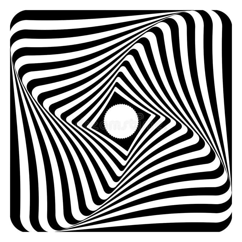 Rotation, twisting and torsion illusion. Op art design. stock illustration