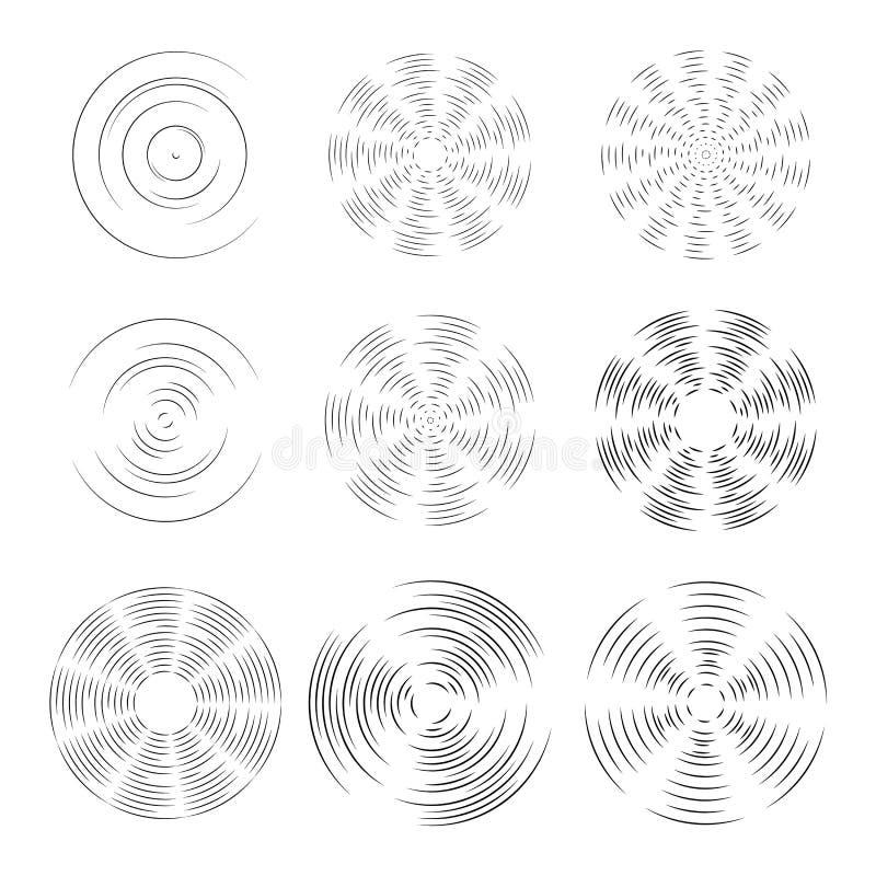 Rotationsbeståndsdelar av fanen eller propellern av flygplanet Samkopieringsmodell Kontur av rotation av surret, liten sol EPS stock illustrationer