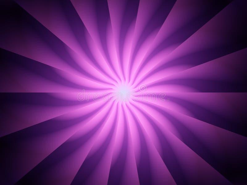 Rotazione a spirale viola dei raggi luminosi illustrazione di stock