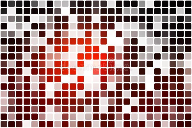 Rotbraunes schwarzes gelegentliches Opazitätsmosaik über Weiß lizenzfreie abbildung